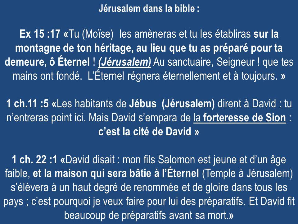 Jérusalem dans la bible : Ex 15 :17 « Tu (Moïse) les amèneras et tu les établiras sur la montagne de ton héritage, au lieu que tu as préparé pour ta demeure, ô Éternel .