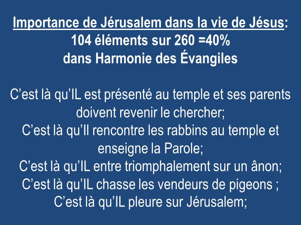 Importance de Jérusalem dans la vie de Jésus: 104 éléments sur 260 =40% dans Harmonie des Évangiles Cest là quIL est présenté au temple et ses parents