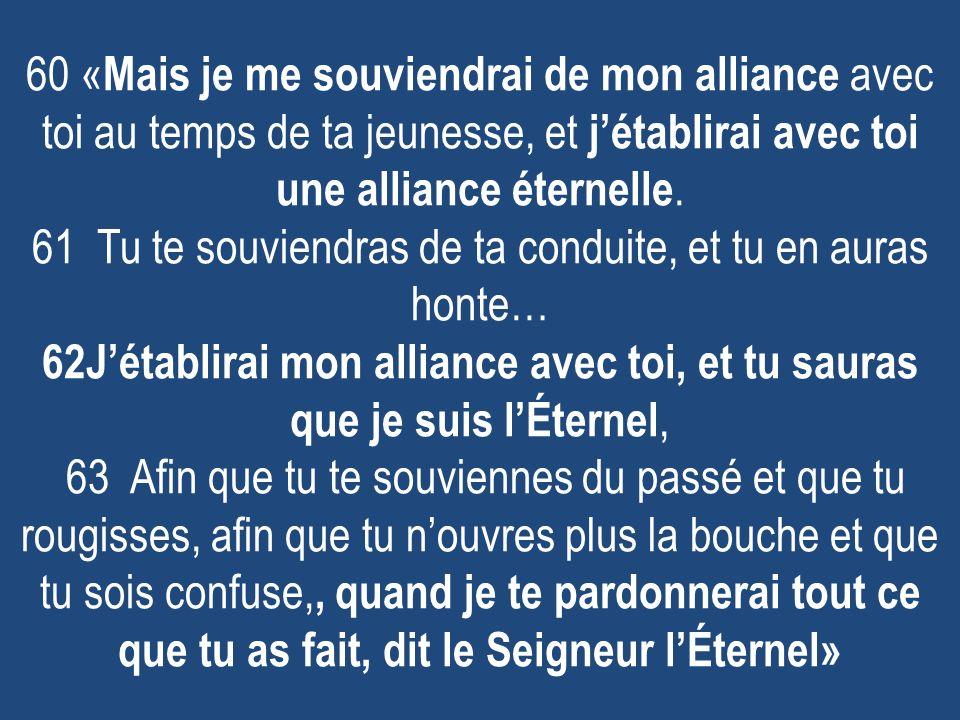 60 « Mais je me souviendrai de mon alliance avec toi au temps de ta jeunesse, et jétablirai avec toi une alliance éternelle.