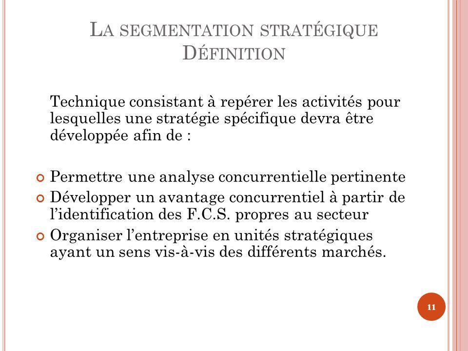 L A SEGMENTATION STRATÉGIQUE D ÉFINITION Technique consistant à repérer les activités pour lesquelles une stratégie spécifique devra être développée a