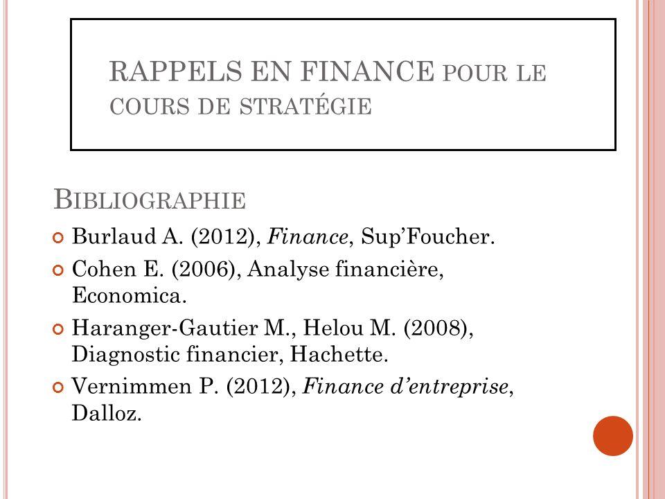 B IBLIOGRAPHIE Burlaud A. (2012), Finance, SupFoucher. Cohen E. (2006), Analyse financière, Economica. Haranger-Gautier M., Helou M. (2008), Diagnosti
