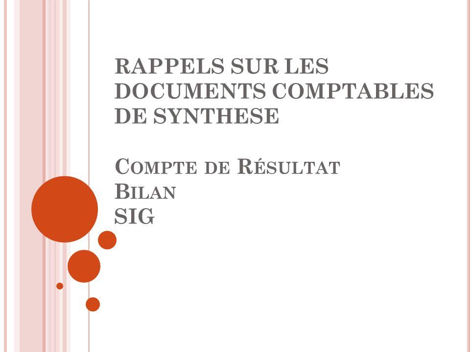 RAPPELS SUR LES DOCUMENTS COMPTABLES DE SYNTHESE C OMPTE DE R ÉSULTAT B ILAN SIG