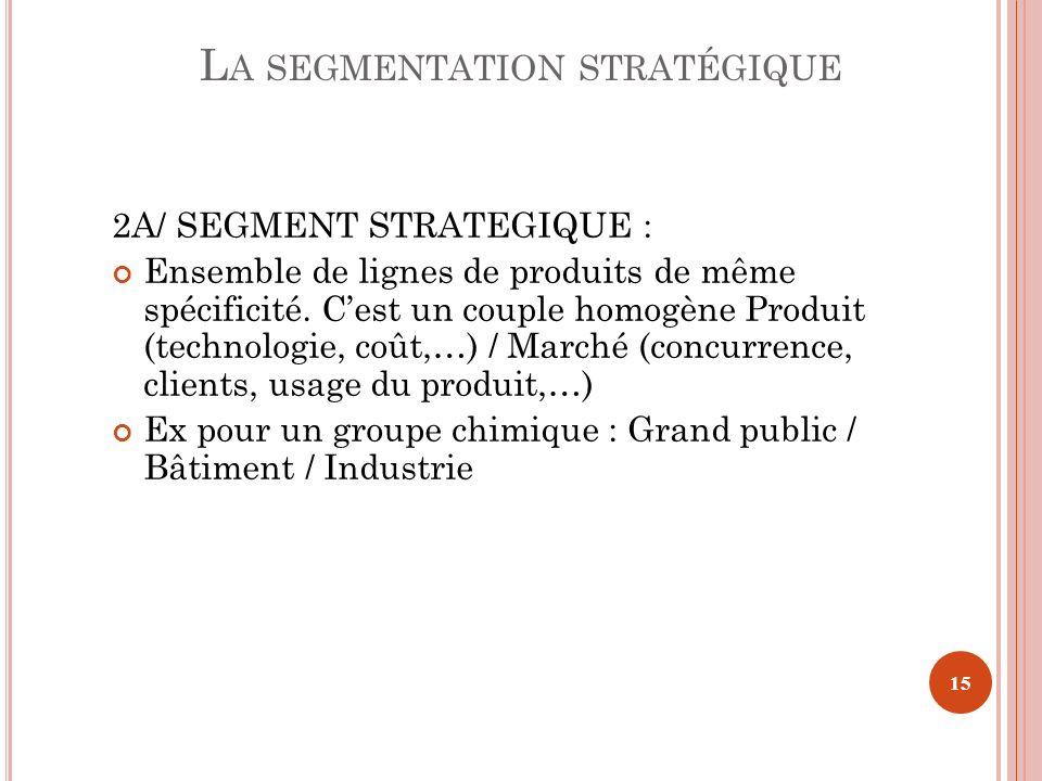 2A/ SEGMENT STRATEGIQUE : Ensemble de lignes de produits de même spécificité. Cest un couple homogène Produit (technologie, coût,…) / Marché (concurre