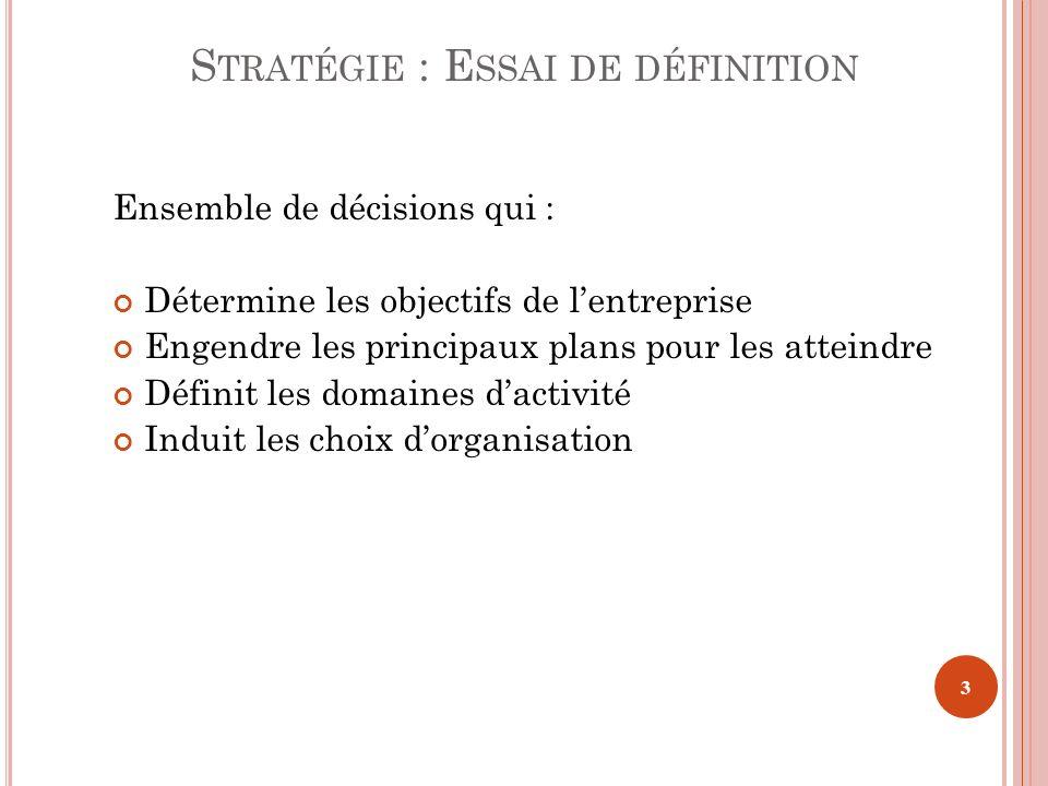 S TRATÉGIE : E SSAI DE DÉFINITION Ensemble de décisions qui : Détermine les objectifs de lentreprise Engendre les principaux plans pour les atteindre
