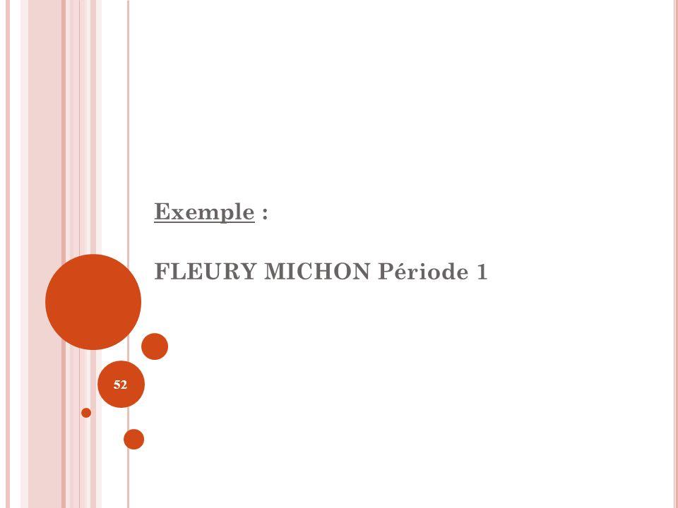 52 Exemple : FLEURY MICHON Période 1