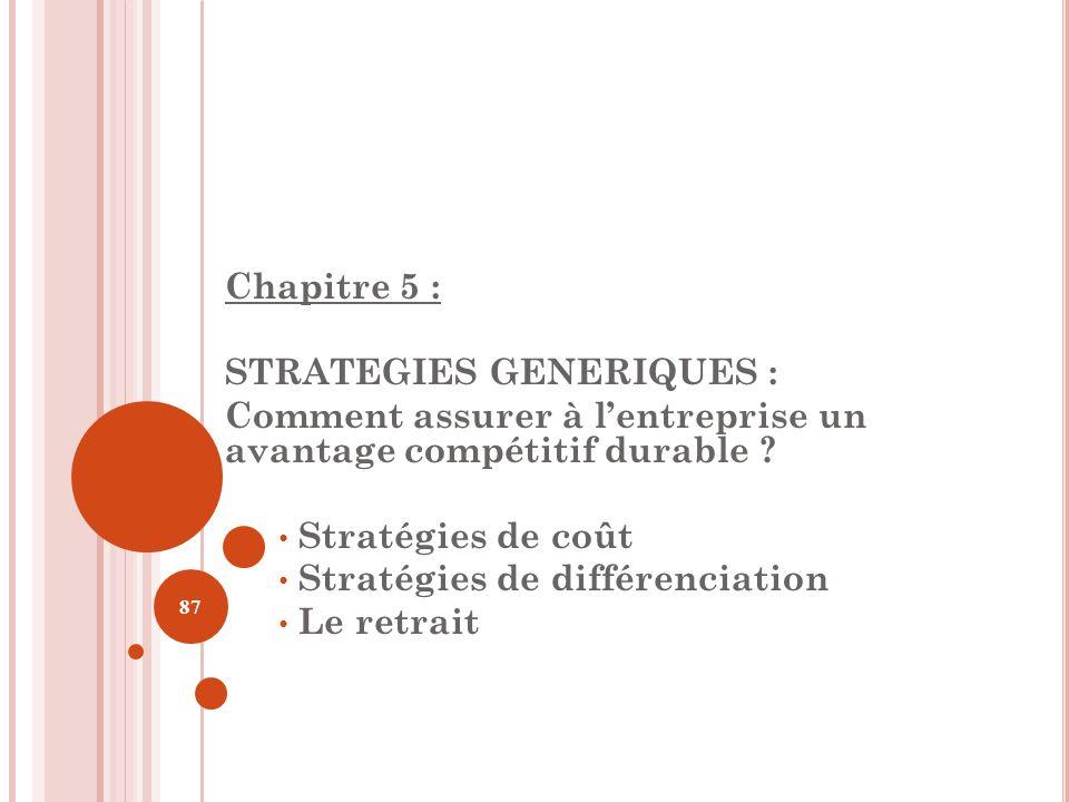 Chapitre 5 : STRATEGIES GENERIQUES : Comment assurer à lentreprise un avantage compétitif durable ? Stratégies de coût Stratégies de différenciation L