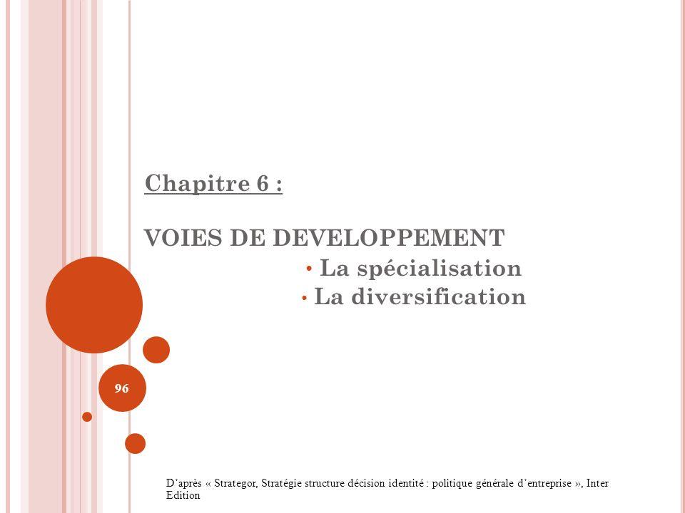 Chapitre 6 : VOIES DE DEVELOPPEMENT La spécialisation La diversification 96 Daprès « Strategor, Stratégie structure décision identité : politique géné