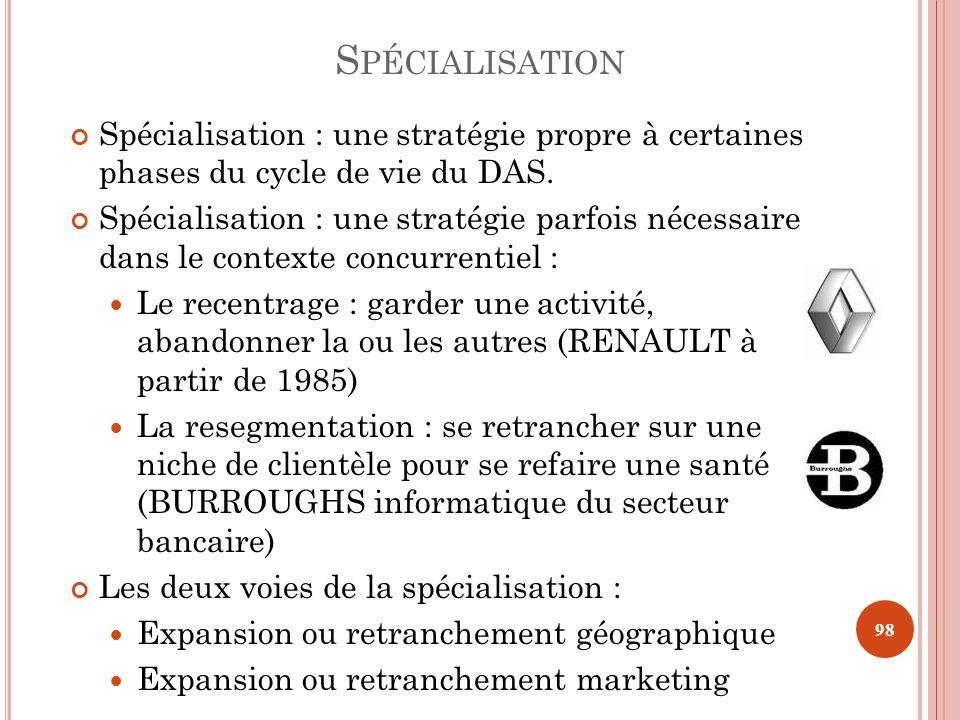 S PÉCIALISATION Spécialisation : une stratégie propre à certaines phases du cycle de vie du DAS. Spécialisation : une stratégie parfois nécessaire dan