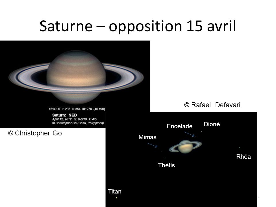 Saturne – opposition 15 avril 22 © Rafael Defavari © Christopher Go Titan Mimas Thétis Encelade Dioné Rhéa
