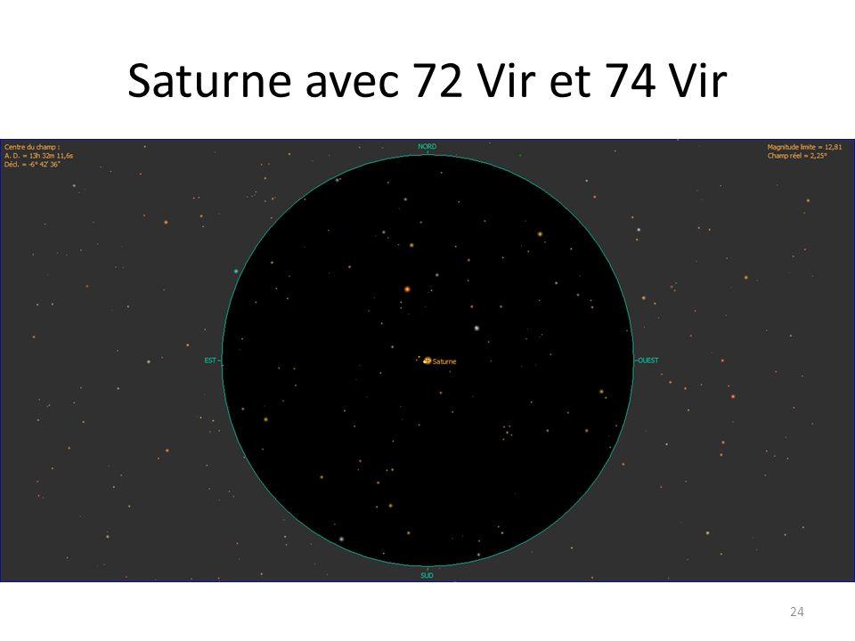 Saturne avec 72 Vir et 74 Vir 24