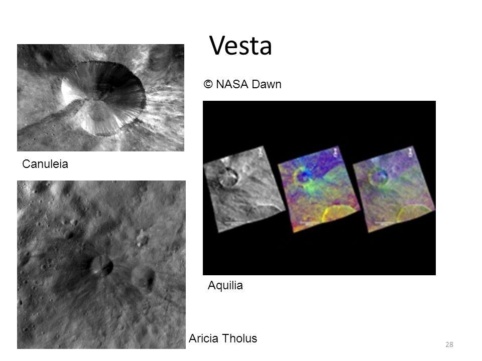 Vesta 28 Canuleia © NASA Dawn Aricia Tholus Aquilia