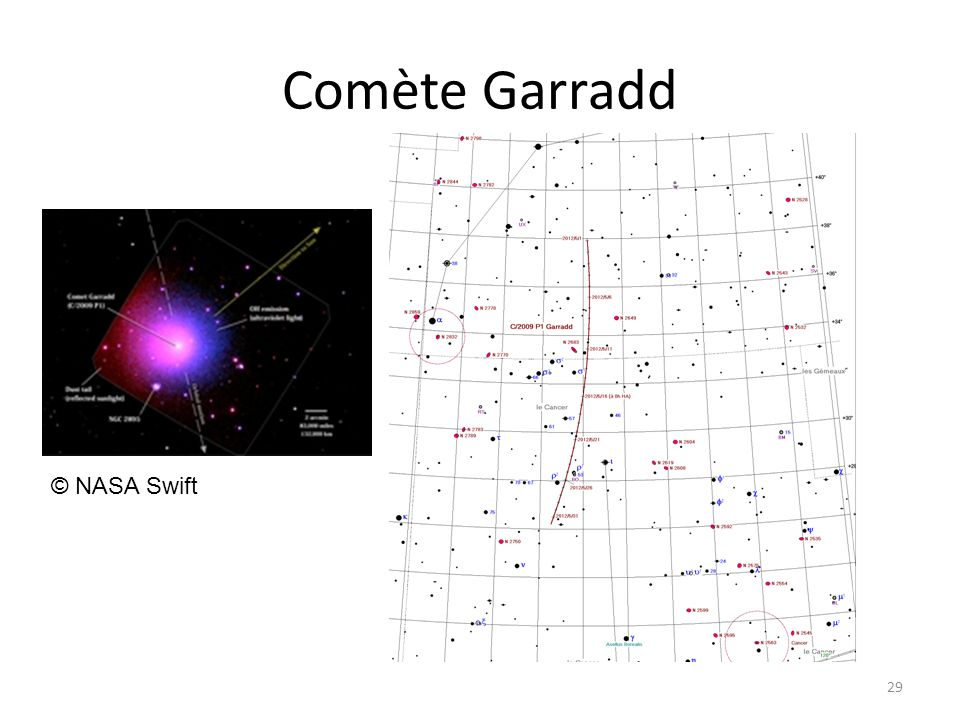 Comète Garradd 29 © NASA Swift