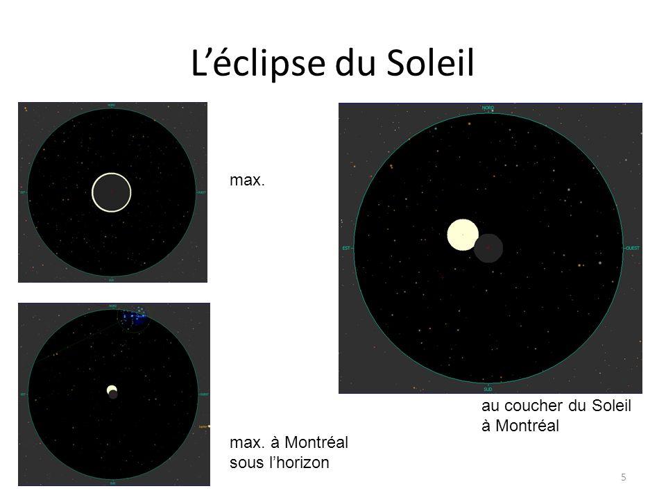 Léclipse du Soleil 5 max. max. à Montréal sous lhorizon au coucher du Soleil à Montréal