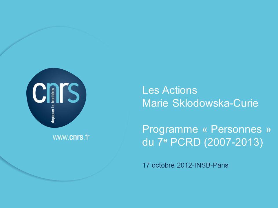 P. 1 Victoire Teisserenc, DERCI Bureau de Bruxelles P. 1 Emetteur l Fonction Les Actions Marie Sklodowska-Curie Programme « Personnes » du 7 e PCRD (2