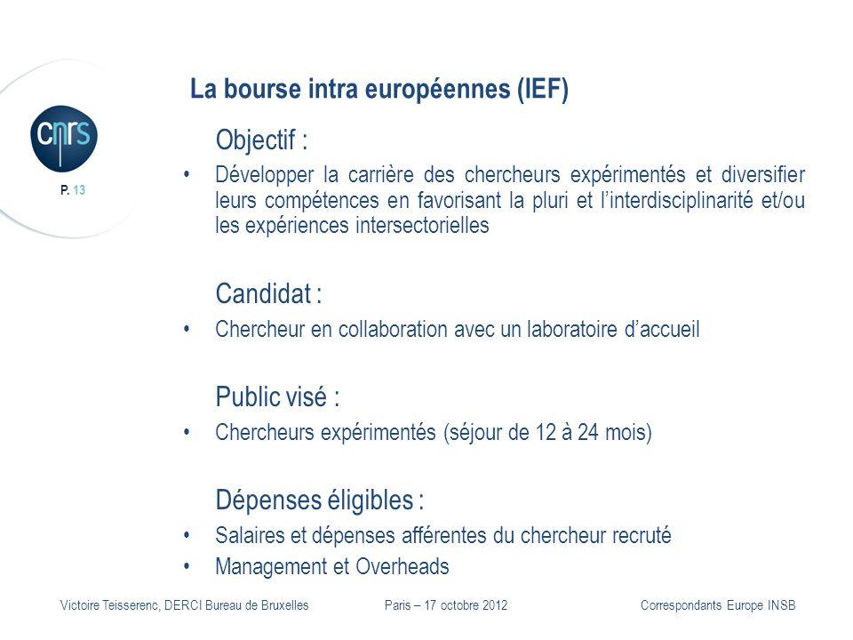 P. 13 Victoire Teisserenc, DERCI Bureau de Bruxelles La bourse intra européennes (IEF) Objectif : Développer la carrière des chercheurs expérimentés e