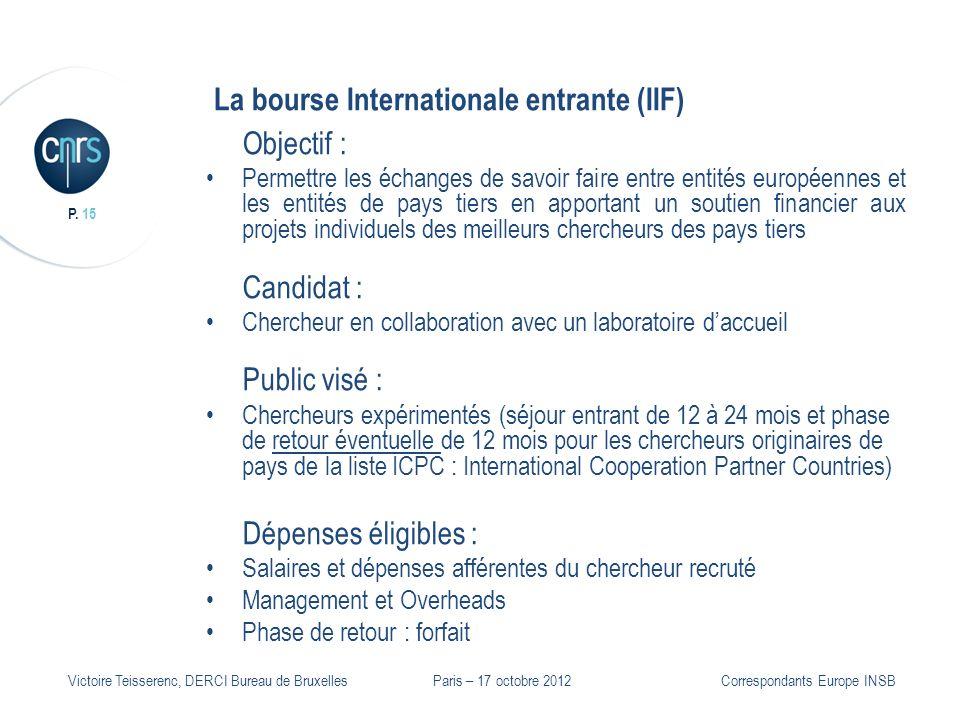 P. 15 Victoire Teisserenc, DERCI Bureau de Bruxelles La bourse Internationale entrante (IIF) Objectif : Permettre les échanges de savoir faire entre e