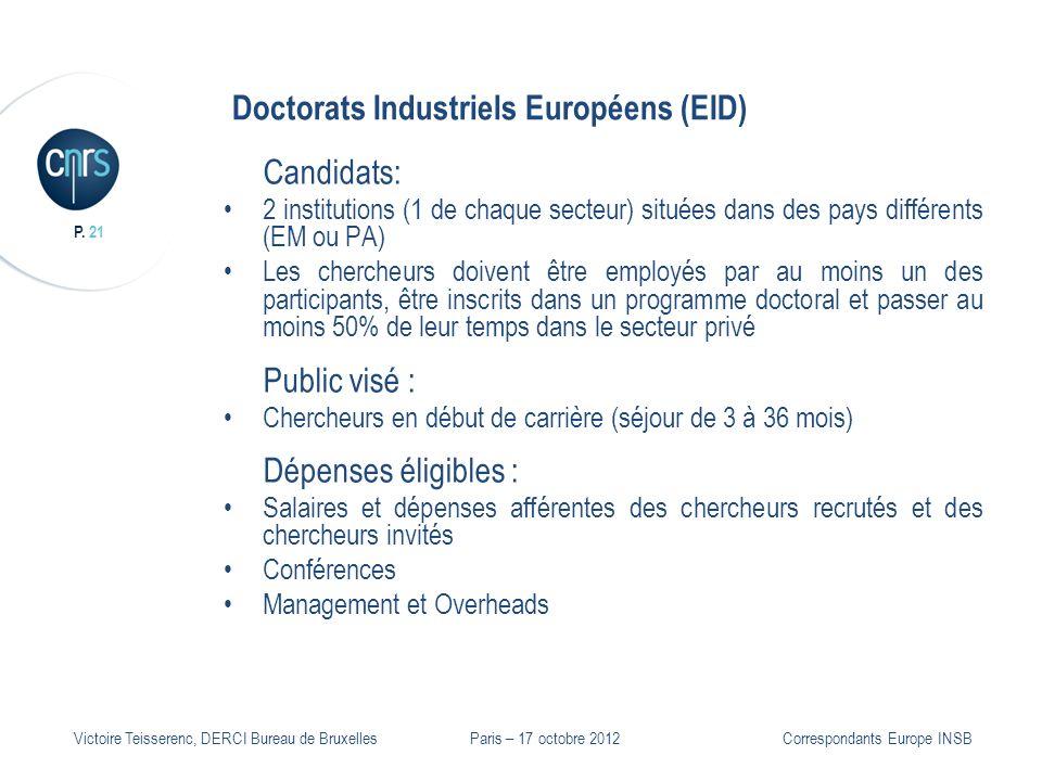 P. 21 Victoire Teisserenc, DERCI Bureau de Bruxelles Doctorats Industriels Européens (EID) Candidats: 2 institutions (1 de chaque secteur) situées dan