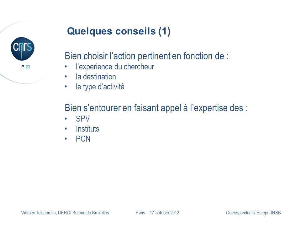 P. 23 Victoire Teisserenc, DERCI Bureau de Bruxelles Quelques conseils (1) Bien choisir laction pertinent en fonction de : lexperience du chercheur la
