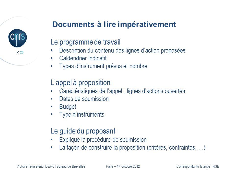 P. 25 Victoire Teisserenc, DERCI Bureau de Bruxelles Documents à lire impérativement Le programme de travail Description du contenu des lignes daction