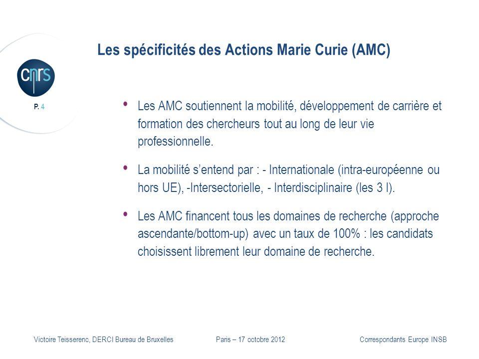 P. 4 Victoire Teisserenc, DERCI Bureau de Bruxelles Les spécificités des Actions Marie Curie (AMC) Les AMC soutiennent la mobilité, développement de c