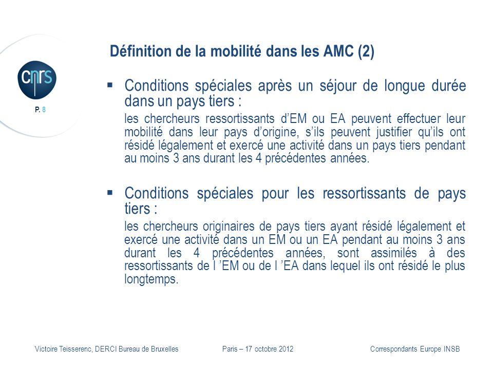 P. 8 Victoire Teisserenc, DERCI Bureau de Bruxelles Définition de la mobilité dans les AMC (2) Conditions spéciales après un séjour de longue durée da