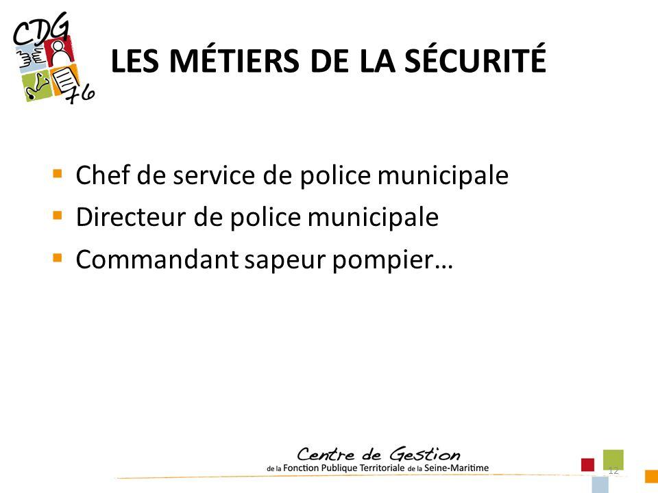 12 LES MÉTIERS DE LA SÉCURITÉ Chef de service de police municipale Directeur de police municipale Commandant sapeur pompier…