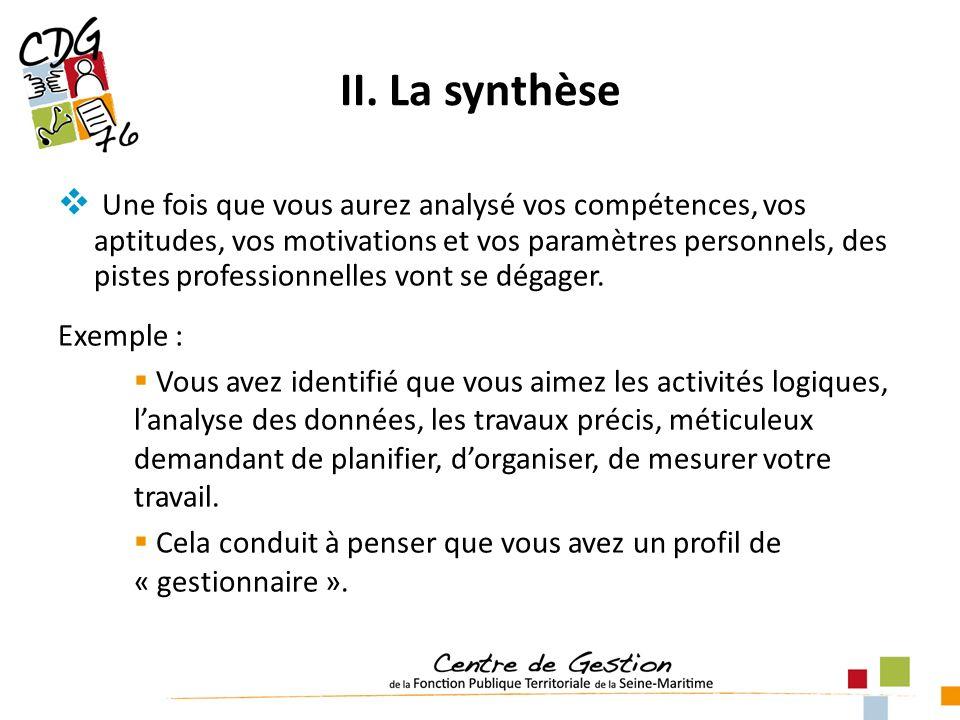 II. La synthèse Une fois que vous aurez analysé vos compétences, vos aptitudes, vos motivations et vos paramètres personnels, des pistes professionnel