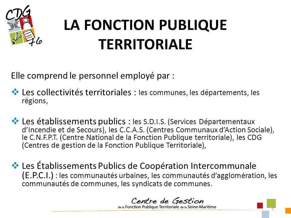 2 Elle comprend le personnel employé par : Les collectivités territoriales : les communes, les départements, les régions, Les établissements publics : les S.D.I.S.