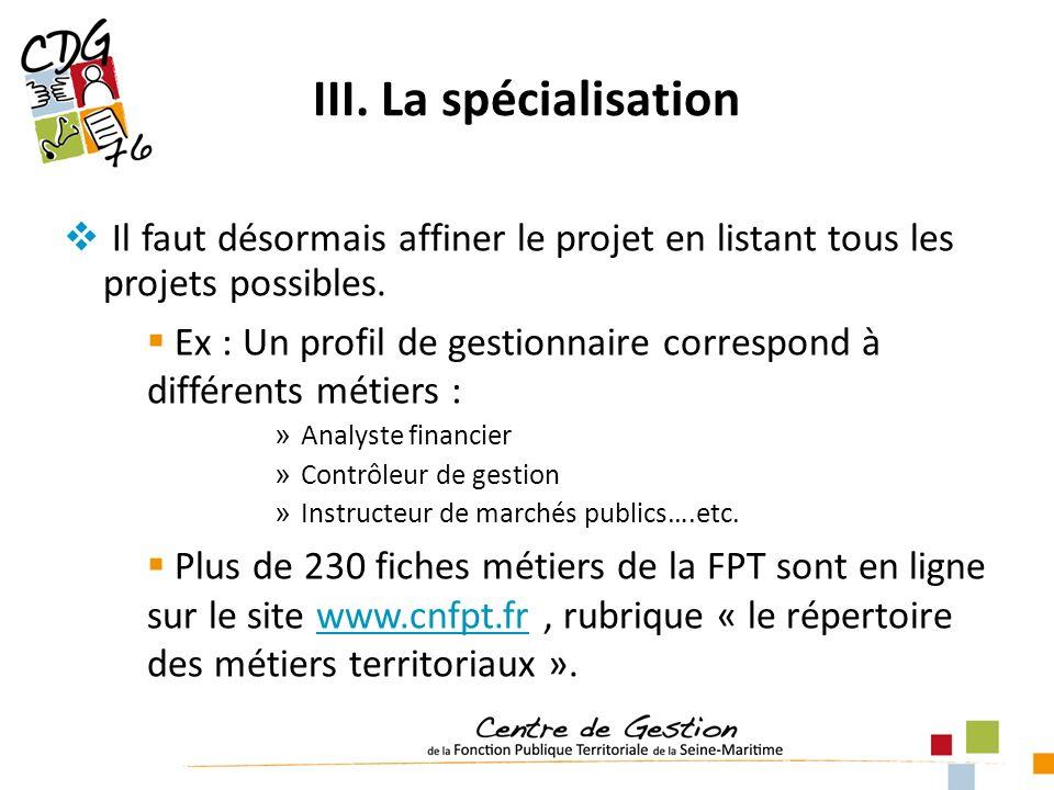 III. La spécialisation Il faut désormais affiner le projet en listant tous les projets possibles. Ex : Un profil de gestionnaire correspond à différen