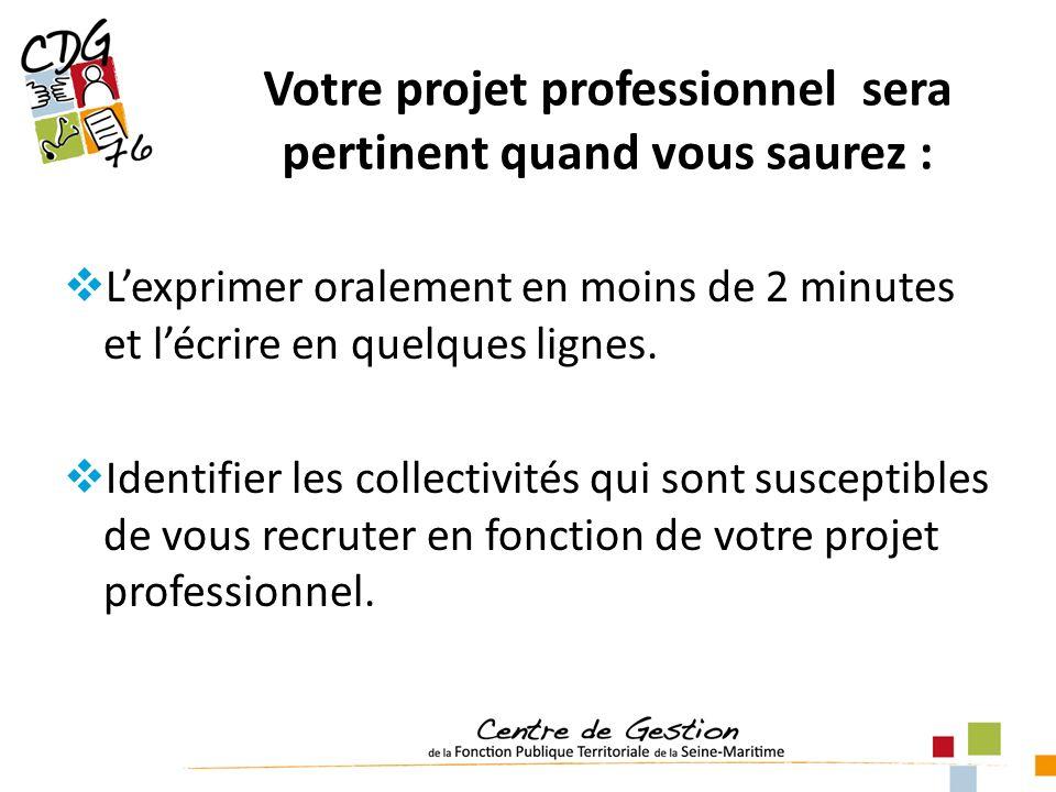 Votre projet professionnel sera pertinent quand vous saurez : Lexprimer oralement en moins de 2 minutes et lécrire en quelques lignes.