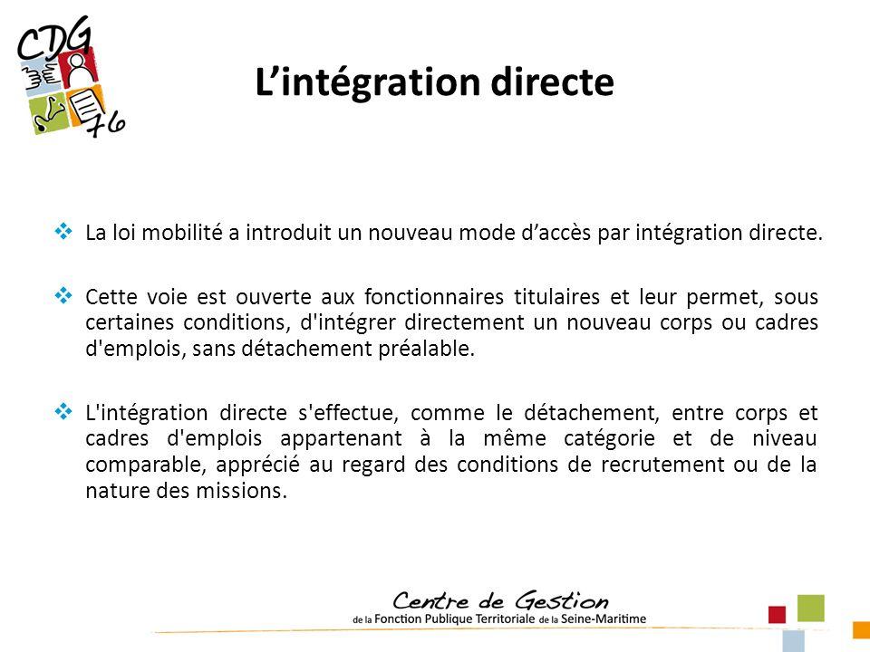 Lintégration directe La loi mobilité a introduit un nouveau mode daccès par intégration directe. Cette voie est ouverte aux fonctionnaires titulaires