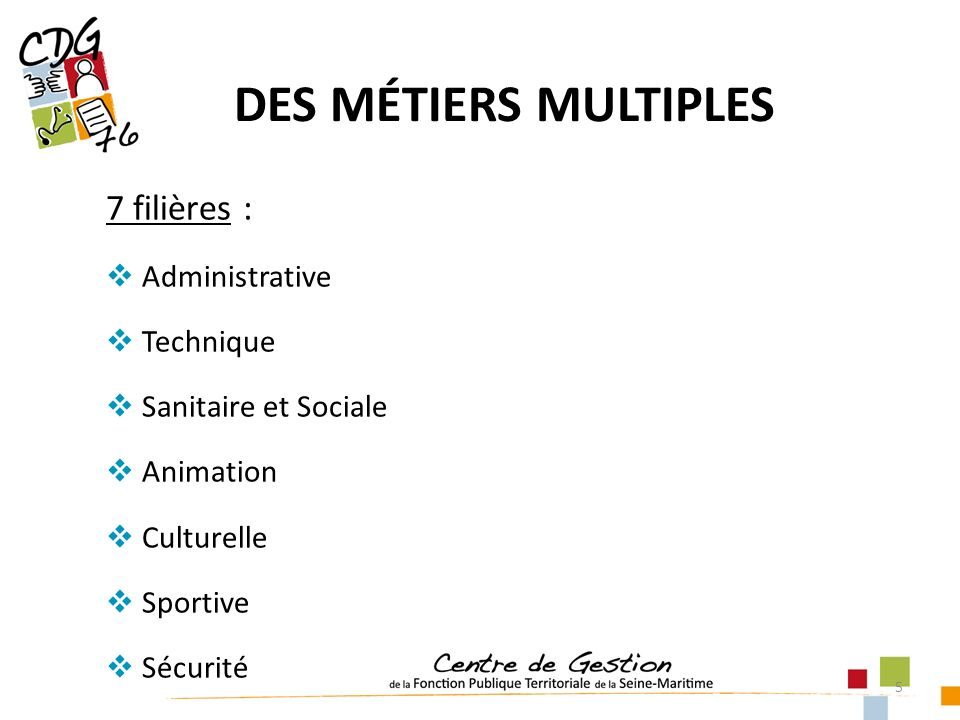 5 DES MÉTIERS MULTIPLES 7 filières : Administrative Technique Sanitaire et Sociale Animation Culturelle Sportive Sécurité