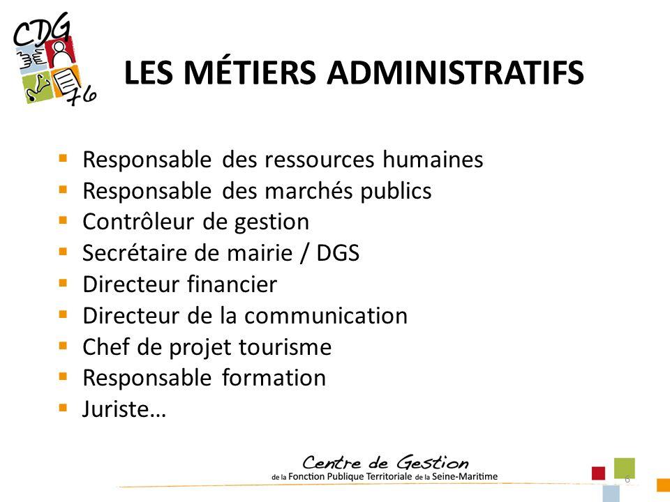 6 LES MÉTIERS ADMINISTRATIFS Responsable des ressources humaines Responsable des marchés publics Contrôleur de gestion Secrétaire de mairie / DGS Dire