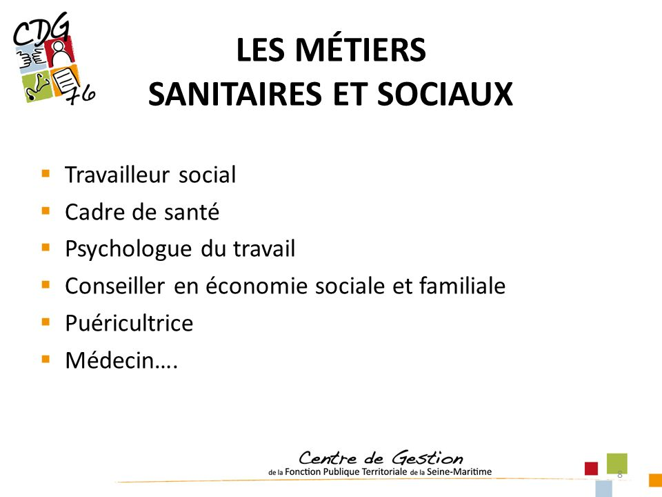 8 Travailleur social Cadre de santé Psychologue du travail Conseiller en économie sociale et familiale Puéricultrice Médecin…. LES MÉTIERS SANITAIRES