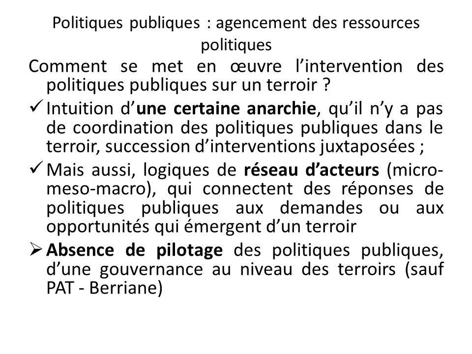 Politiques publiques : agencement des ressources politiques Comment se met en œuvre lintervention des politiques publiques sur un terroir .