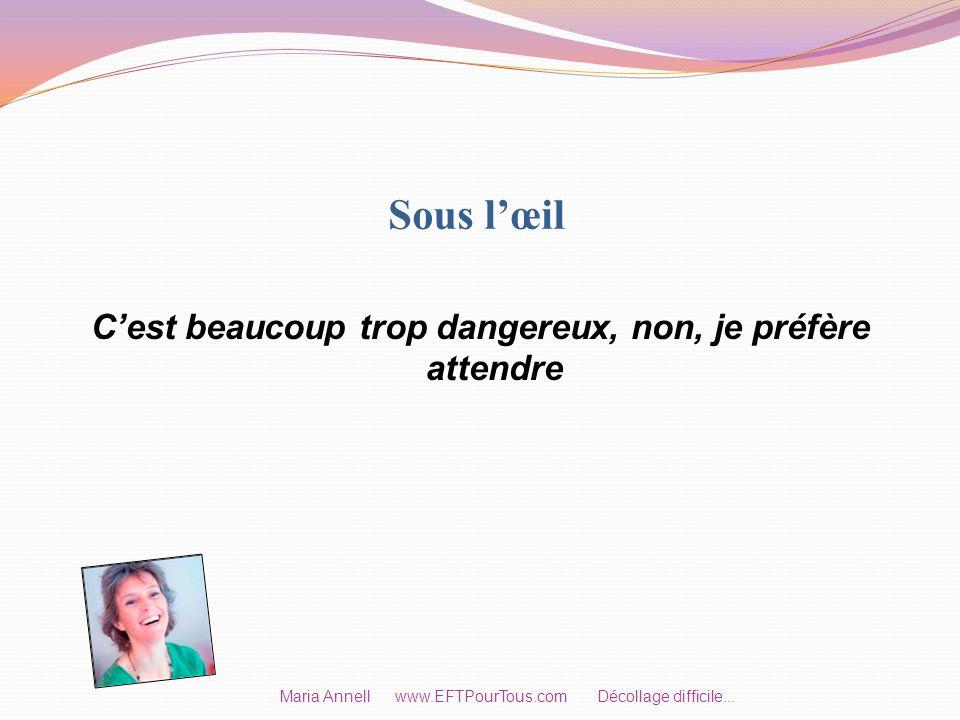 Sous lœil Cest beaucoup trop dangereux, non, je préfère attendre Maria Annell www.EFTPourTous.com Décollage difficile...