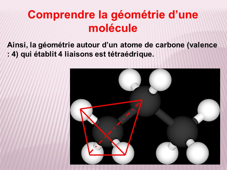 Comprendre la géométrie dune molécule Ainsi, la géométrie autour dun atome de carbone (valence : 4) qui établit 4 liaisons est tétraédrique.