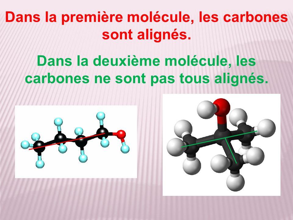 Dans la première molécule, les carbones sont alignés. Dans la deuxième molécule, les carbones ne sont pas tous alignés.