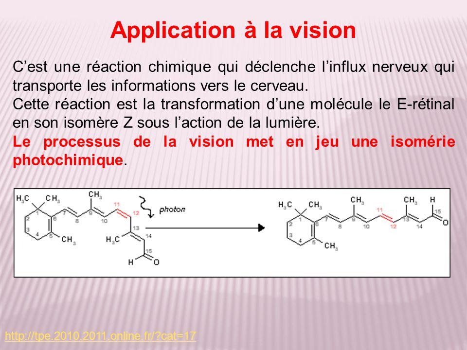 Cest une réaction chimique qui déclenche linflux nerveux qui transporte les informations vers le cerveau. Cette réaction est la transformation dune mo