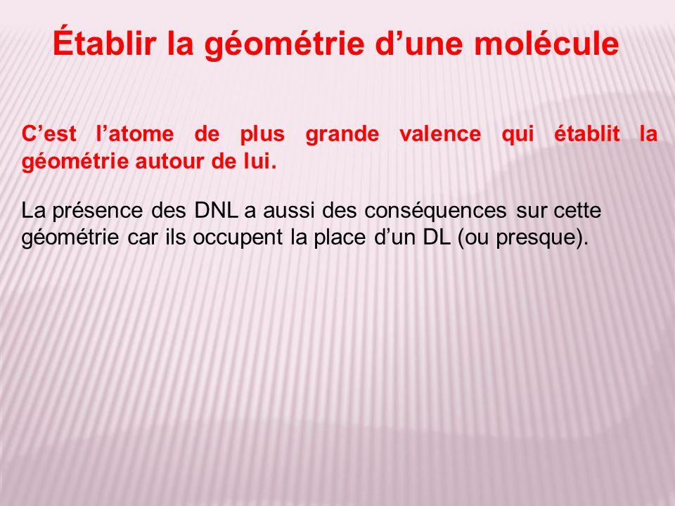 Établir la géométrie dune molécule Cest latome de plus grande valence qui établit la géométrie autour de lui. La présence des DNL a aussi des conséque