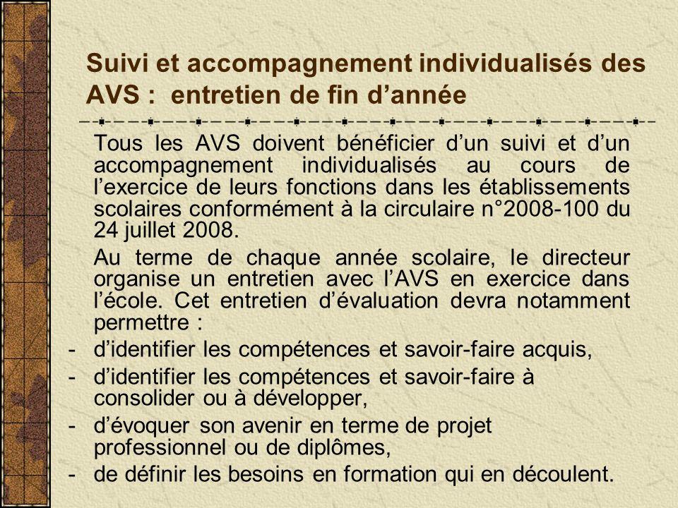 Suivi et accompagnement individualisés des AVS : entretien de fin dannée Tous les AVS doivent bénéficier dun suivi et dun accompagnement individualisé