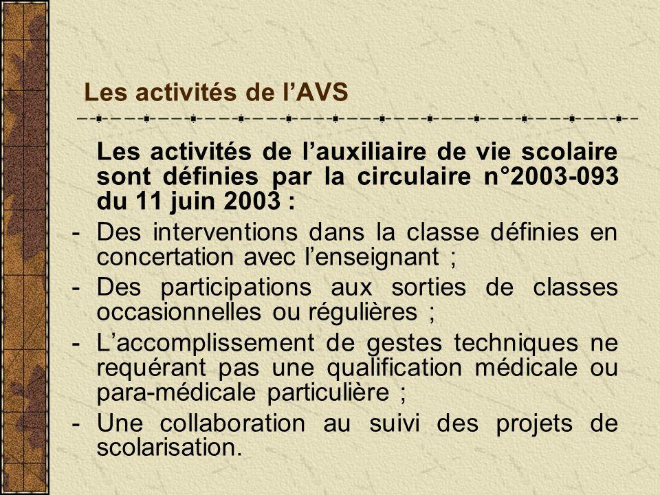 Les activités de lAVS Les activités de lauxiliaire de vie scolaire sont définies par la circulaire n°2003-093 du 11 juin 2003 : -Des interventions dan