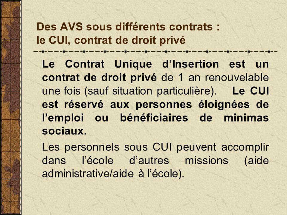Des AVS sous différents contrats : le CUI, contrat de droit privé Le Contrat Unique dInsertion est un contrat de droit privé de 1 an renouvelable une
