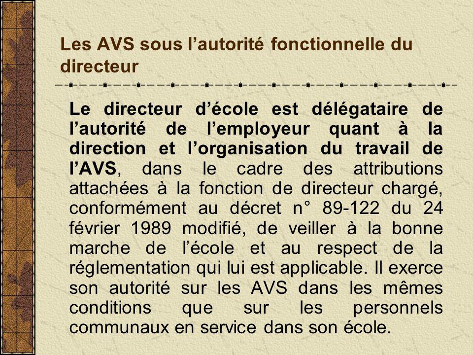 Les AVS sous lautorité fonctionnelle du directeur Le directeur décole est délégataire de lautorité de lemployeur quant à la direction et lorganisation