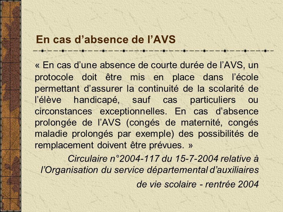 En cas dabsence de lAVS « En cas dune absence de courte durée de lAVS, un protocole doit être mis en place dans lécole permettant dassurer la continui