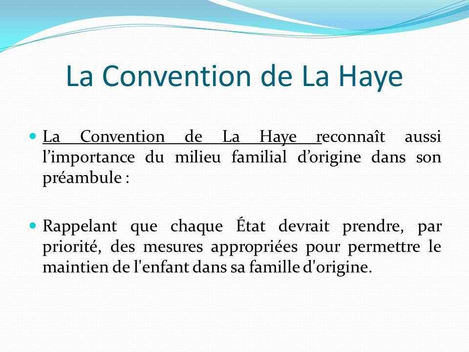 La Convention de La Haye La Convention de La Haye reconnaît aussi limportance du milieu familial dorigine dans son préambule : Rappelant que chaque Ét