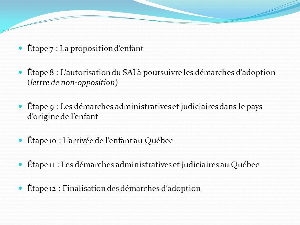 Étape 7 : La proposition denfant Étape 8 : Lautorisation du SAI à poursuivre les démarches dadoption (lettre de non-opposition) Étape 9 : Les démarche
