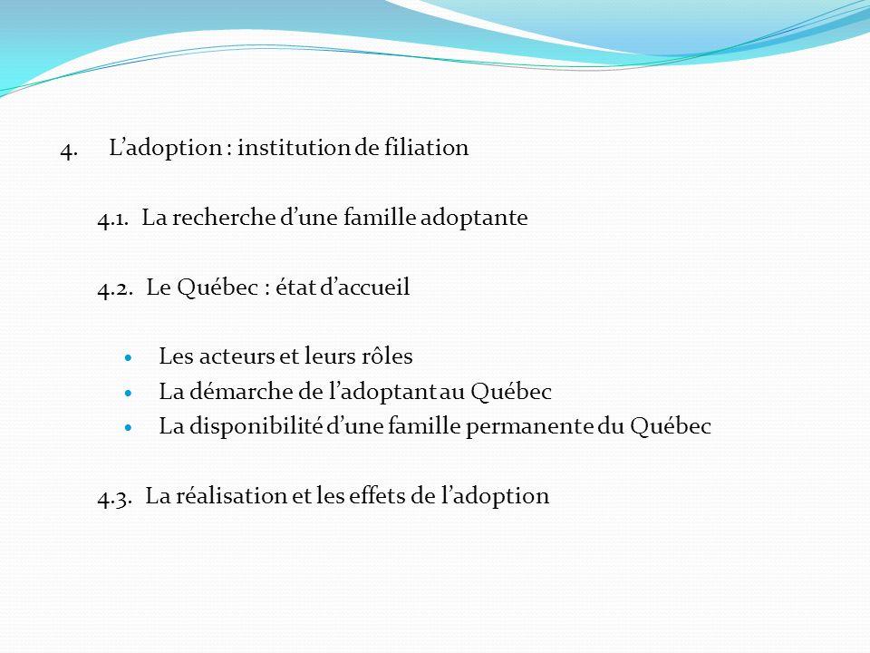 4. Ladoption : institution de filiation 4.1. La recherche dune famille adoptante 4.2. Le Québec : état daccueil Les acteurs et leurs rôles La démarche