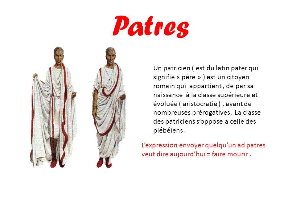 Patres Un patricien ( est du latin pater qui signifie « père » ) est un citoyen romain qui appartient, de par sa naissance à la classe supérieure et é