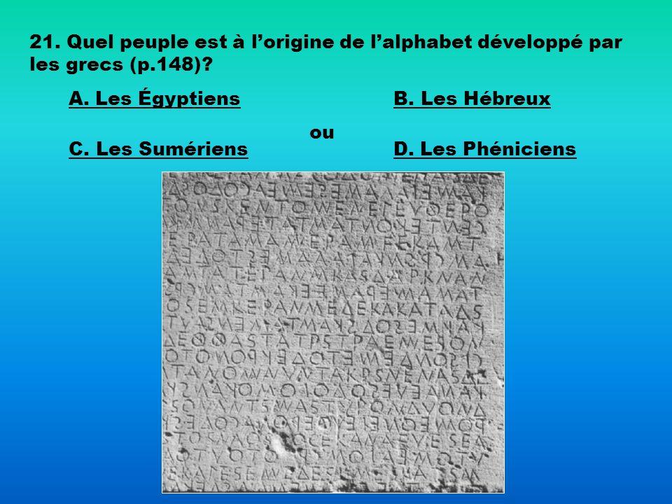 21. Quel peuple est à lorigine de lalphabet développé par les grecs (p.148)? A. Les ÉgyptiensB. Les Hébreux C. Les Sumériens ou D. Les Phéniciens